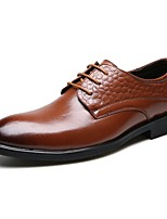Men's Wedding Shoes Summer Fall Formal Shoes Comfort Leather Wedding Office & Career Party & Evening Flat Heel Split Joint Lace-upBrown