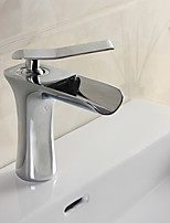 Modern Deck Mounted Waterfall with  Ceramic Valve Single Handle Single Hole for  Chrome  Bathroom Basin Sink Faucet