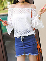 Women's Going out Casual/Daily Work Sexy Boho Cute Summer Blouse,Solid Boat Neck Long Sleeve Special Leather Types