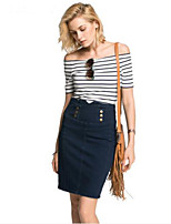 Women's Casual Cotton Striped Slash Neck Short Sleeve T Shirt