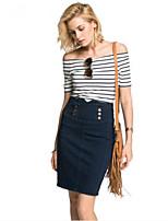 Damen Gestreift Einfach Ausgehen T-shirt,Bateau Sommer ¾-Arm Baumwolle Acryl Undurchsichtig