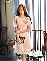 DABUWAWA Women's Going out Casual/Daily Party Vintage Street chic Sophisticated Shift Sheath Lace DressSolid Round Neck Above Knee Short Sleeve