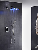 Contemporary Art Deco/Retro Modern Wall Mounted LED Rain Shower Pullout Spray with  Brass Valve Single Handle Two Holes for  Chrome ,