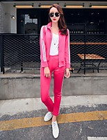 Women's Casual/Daily Simple Hoodie Pant Suits,Solid Stand