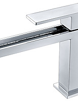 Contemporary Deck Mounted Waterfall with  Ceramic Valve Single Handle One Hole Chrome Finish  Bathroom Basin Sink Faucet