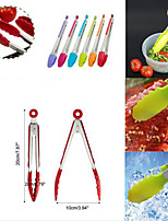 Silicone Kitchen Cooking Salad Serving BBQ Tongs Stainless Steel Handle Utensil 1PC Random color