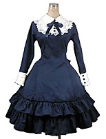One-Piece/Dress Classic/Traditional Lolita Rococo Cosplay Lolita Dress Solid Color Long Sleeve Knee-length Dress For Padded Fabric