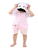 Kigurumi Pajamas Cat Leotard/Onesie Festival/Holiday Animal Sleepwear Halloween Pink Color Block Cotton Cosplay Costumes ForUnisex Female  Kid