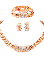 Jewelry Set Bridal Jewelry Sets Euramerican Fashion Classic Rhinestone Zinc Alloy Square Gold1 Necklace 1 Pair of Earrings 1 Bracelet