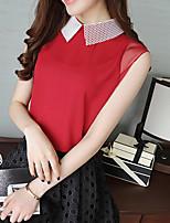 Для женщин На каждый день Лето Осень Блуза Рубашечный воротник,Простое Богемный Однотонный Без рукавов,Шёлк Хлопок,Плотная