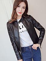 Для женщин На выход Весна Кожаные куртки Воротник-стойка,просто С принтом Короткие Длинный рукав,Others