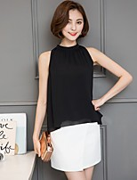 Women's Casual/Daily Beach Holiday Sexy Simple Cute All Seasons Summer Blouse,Solid Stand Sleeveless Rayon Thin
