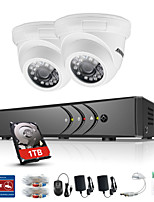 ANNKE® 4CH 2PCS TVI 720P Video Monitor IP Network CCTV AHD DVR P2P Camera Home Surveillance Security System