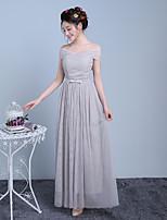 Ankle-length Off-the-shoulder Bridesmaid Dress - Elegant Sleeveless Satin Tulle