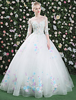 Formal Evening Dress - Floral Sexy Lace-up Ball Gown Jewel Floor-length Lace Tulle with Beading Embroidery Lace Sequins Bandage