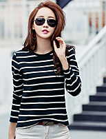 Women's Casual/Daily Simple Spring T-shirt,Striped Round Neck Long Sleeve Cotton Opaque