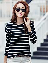 Tee-shirt Femme,Rayé Décontracté / Quotidien simple Printemps Manches Longues Col Arrondi Coton Opaque