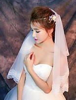 Wedding Veil One-tier Elbow Veils Fingertip Veils Lace Applique Edge Tulle Lace