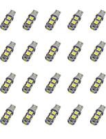 20шт t10 9 * 5050 smd светодиодная лампа для автомобиля белый свет dc12v