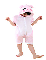 Kigurumi Pajamas Piggy/Pig Leotard/Onesie Festival/Holiday Animal Sleepwear Halloween Pink Solid Cotton Cosplay Costumes ForUnisex Female   Kid