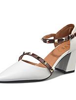 Damen Sandalen Komfort PU Outddor Walking Schnalle Block Ferse Weiß Beige Unter 2,5 cm