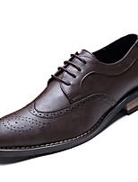 Men's Oxfords Spring Fall Comfort PU Outdoor Flat Heel Dark Brown Black/Gold Black