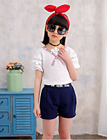 Girls' Casual/Daily Striped Sets,Cotton Polyester Summer Sleeveless Clothing Set