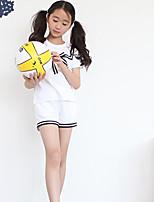 Girl Casual/Daily Solid Sets,Rayon Summer Short Sleeve Clothing Set