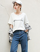 Women's Going out Casual/Daily Simple Street chic T-shirt,Letter Round Neck Short Sleeve Cotton