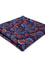 CH13 Classic Mens Pocket Square Handkerchiefs Blue Orange Paisley 100% Silk Unique Fashion Dress Casual