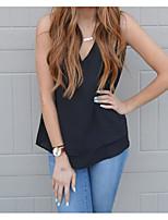 Tee-shirt Femme,Couleur Pleine Décontracté / Quotidien simple Sans Manches Col en V Coton