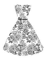 Balançoire Robe Femme Décontracté / Quotidien Vacances Grandes Tailles Vintage Chic de Rue,Broderie Col Arrondi Mi-long Sans Manches