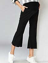 מכנסיים צ'ינו strenchy משוחרר רגל רחבה גיזרה גבוהה אחיד פָּשׁוּט סגנון רחוב נשים