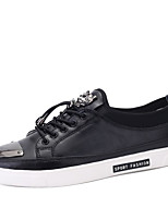 Men's Oxfords Comfort Leather Spring Fall Winter Casual Office & Career Comfort White Black Ruby Flat