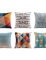 6 pcs High Quality Linen Pillow Case Bed Pillow Body Pillow Travel Pillow Sofa CushionStriped Geometric Graphic Prints Quotes & Sayings