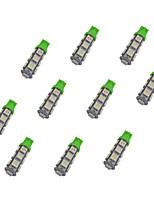 10pcs t10 13 * 5050 smd conduit voiture ampoule lumière verte dc12v