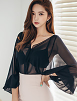 Women's Going out Party Club Vintage Sophisticated Summer Blouse,Solid V Neck Long Sleeve Polyester Sheer