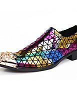 Лиловый-Для мужчин-Свадьба Для офиса Для вечеринки / ужина-Кожа-На плоской подошве-Удобная обувь Оригинальная обувь Формальная обувь-