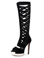 Women's Sandals Summer Fall D'Orsay & Two-Piece Fleece Office & Career Party & Evening Dress Stiletto Heel Zipper Black