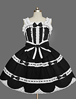 One-Piece/Dress Gothic Lolita Sexy Cosplay Lolita Dress Solid Bowknot Cap Sleeveless Short / Mini Tuxedo Legguards For Cotton