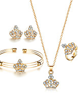 4pcs/Set Fashion Luxurious Elegant Crown Bridal Jewelry Set Crystal Hollow Flower Necklace/Earrings/Ring/Bracelet Wedding Accessorie For Women