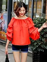 Feminino Camiseta Para Noite Casual Sensual Simples Moda de Rua Verão,Sólido Seda Algodão Decote Canoa Manga ¾ Fina Média
