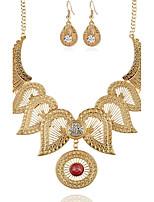 Colar / Brincos Imitação de Diamante Floral Formato de Flor Dourado Prata 1 Colar 1 Par de Brincos Para Festa Ocasião Especial Diário1