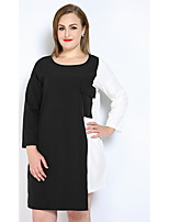 Really Love Women's Plus Size Casual/Daily Holiday Sexy Simple Cute T Shirt Tunic Black and White Dress,Color Block Patchwork Round NeckKnee-length
