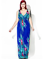 Women's Plus Size Boho Swing Dress,Print Deep V Maxi Sleeveless Polyester Summer Fall High Rise Micro-elastic Medium