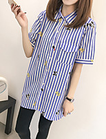 Women's Beach Street chic Shirt,Striped Shirt Collar Short Sleeve Cotton