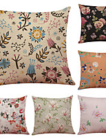 Set of 6 Sweet Petals Pattern Linen Pillowcase Sofa Home Decor Cushion Cover  Throw Pillow Case (18*18inch)