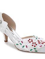 Damen-Sandalen-Hochzeit Outddor Büro Kleid Lässig Party & Festivität-Seide-Stöckelabsatz-Club-Schuhe-Weiß