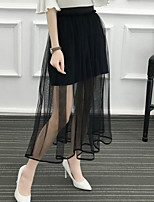 Women's High Rise Midi Skirts A Line Mesh Solid