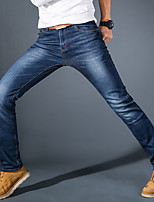 Men's Mid Rise Micro-elastic Jeans PantsSimple Straight Slim Solid CY-1605